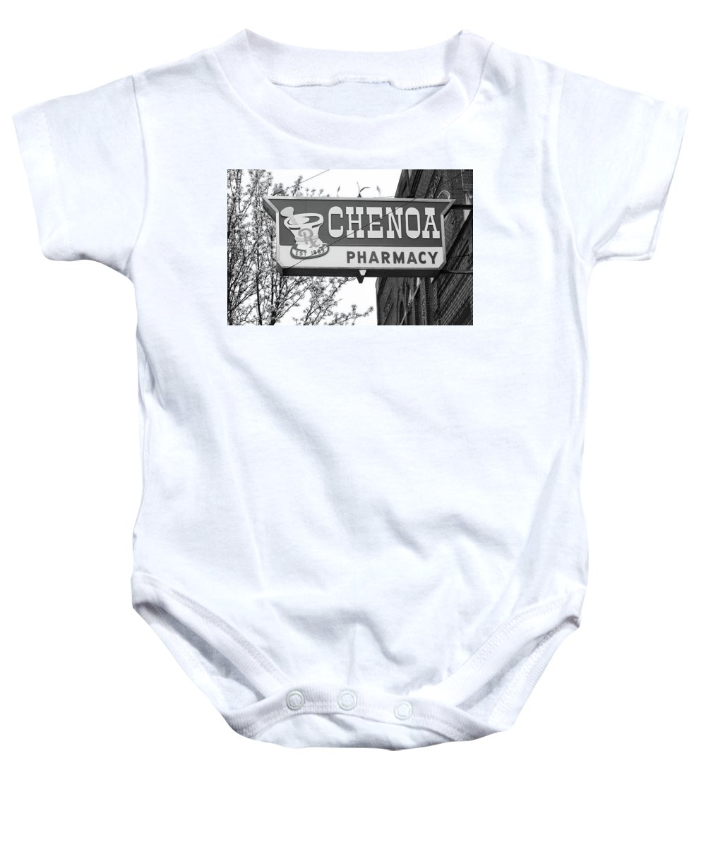 66 Baby Onesie featuring the photograph Route 66 - Chenoa Pharmacy Bw by Frank Romeo