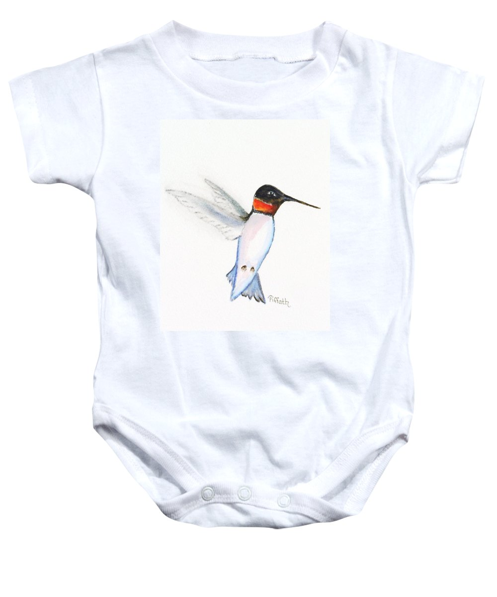 Hummingbird Baby Onesie featuring the painting Ruby Hummer by Patricia Piffath