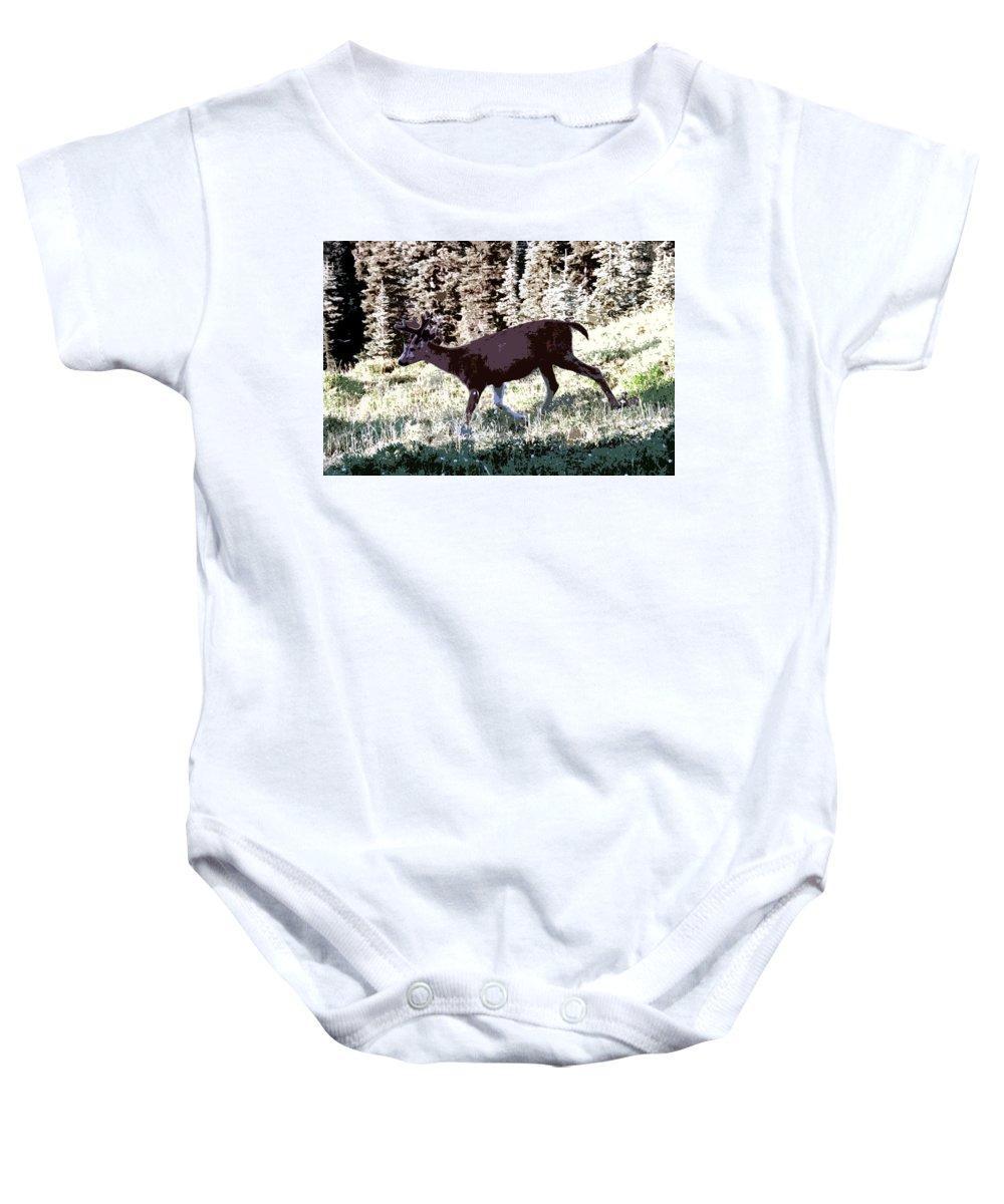 Deer Baby Onesie featuring the painting Running Deer by David Lee Thompson