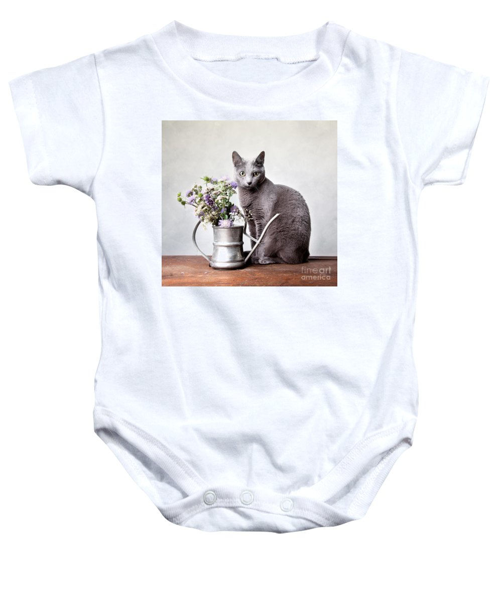 Cat Baby Onesie featuring the photograph Russian Blue 02 by Nailia Schwarz