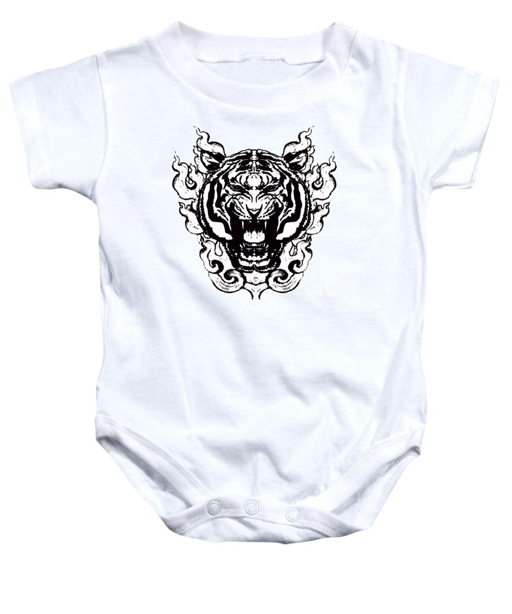 Tiger Baby Onesie featuring the painting Sacred Tiger by Stephen Humphries