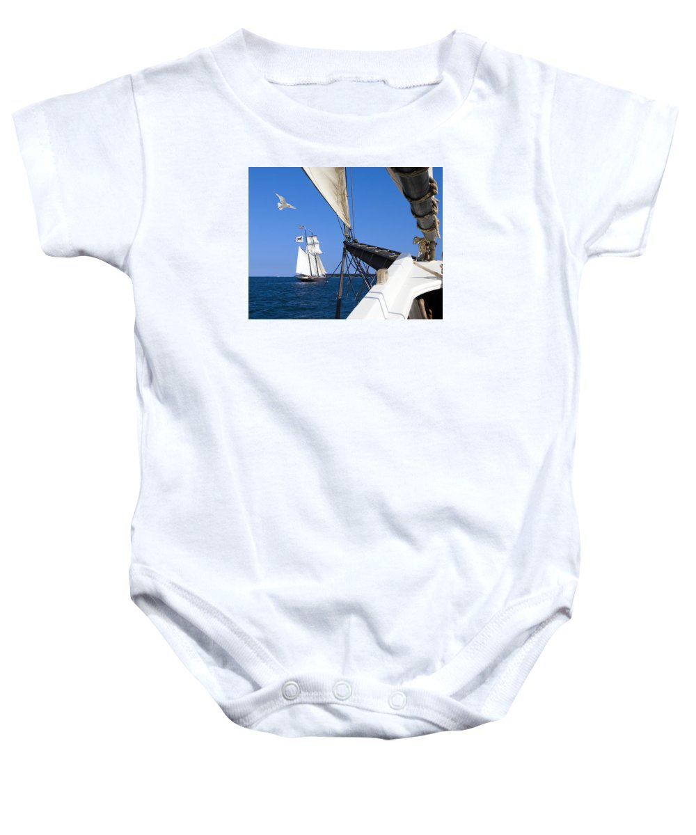 Landscape Baby Onesie featuring the photograph Sailing The Atlantic by Bernard Fairclough