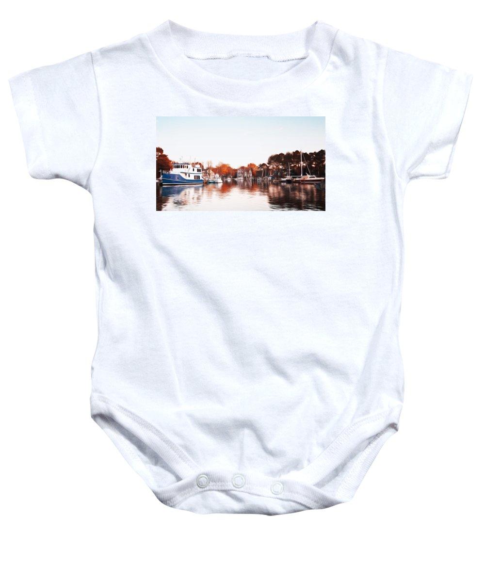 Saint Michael's Harbor Baby Onesie featuring the photograph Saint Michael's Harbor by Bill Cannon