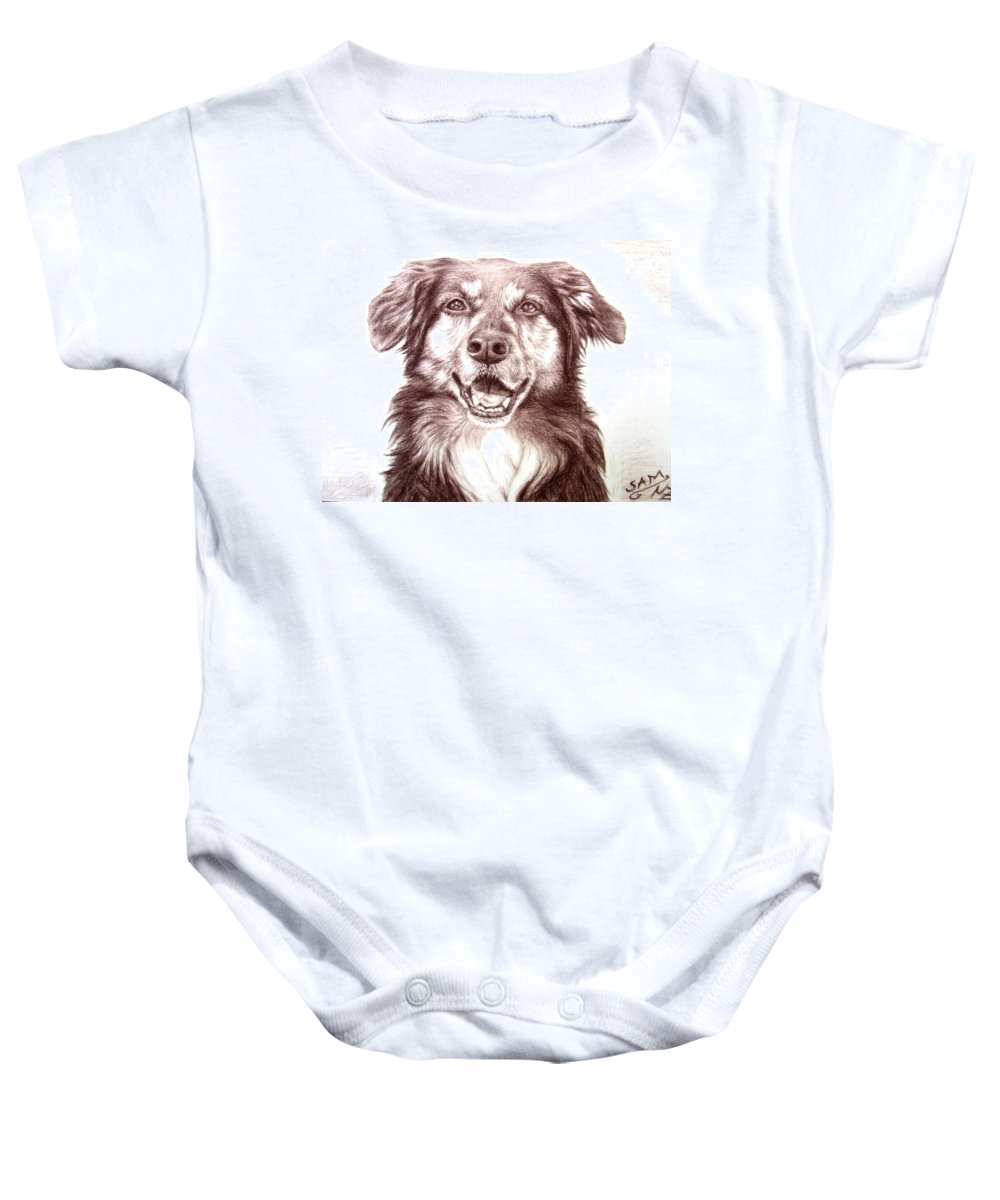 Dog Baby Onesie featuring the drawing Sam by Nicole Zeug