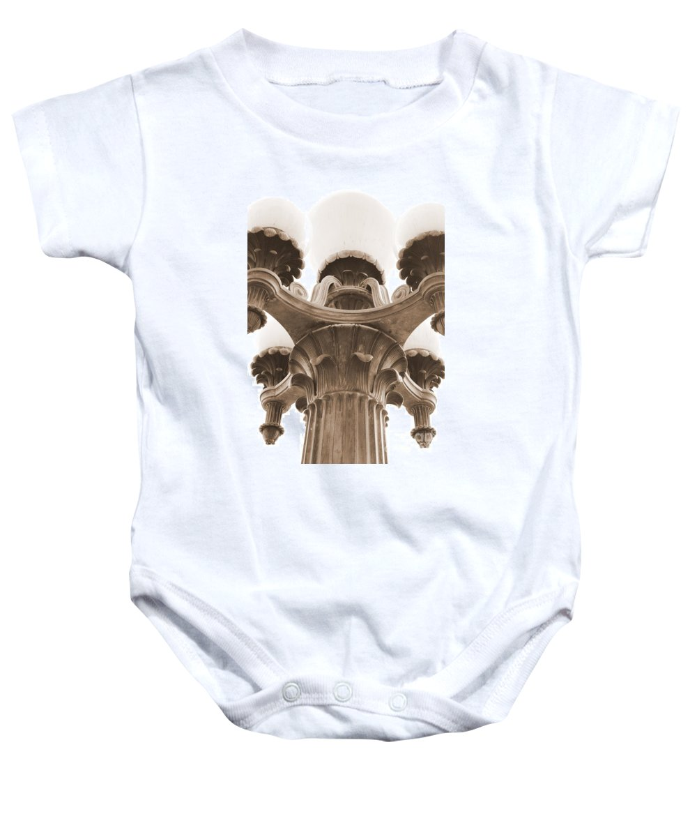 San Francisco Baby Onesie featuring the photograph San Francisco Street Lamp by Carol Groenen