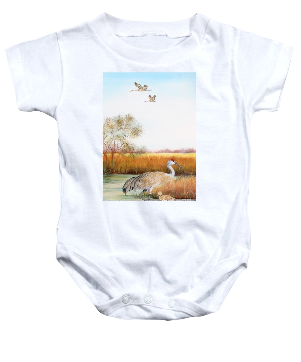Jean Plout Baby Onesie featuring the painting Sandhill Cranes-jp3160 by Jean Plout