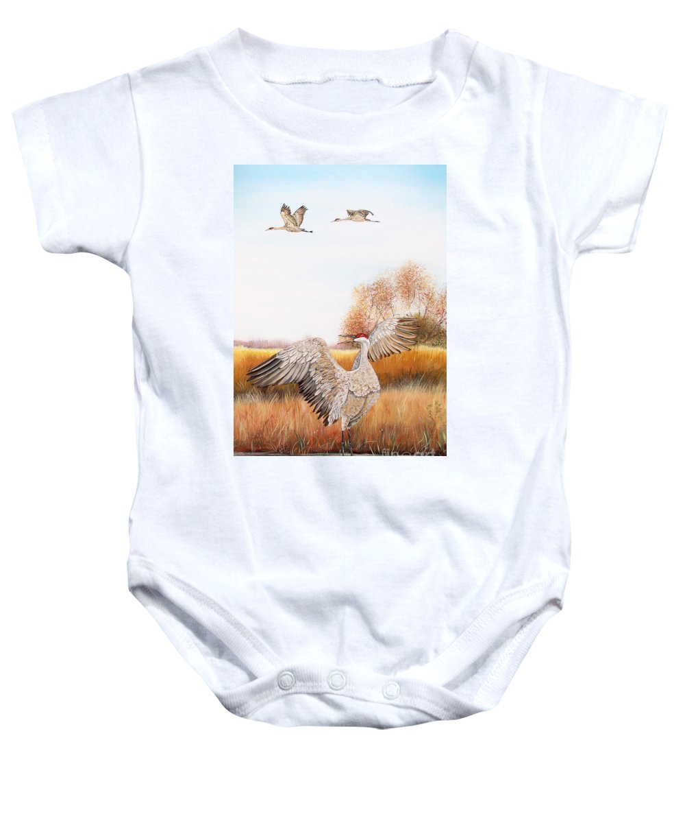 Jean Plout Baby Onesie featuring the painting Sandhill Cranes-jp3161 by Jean Plout