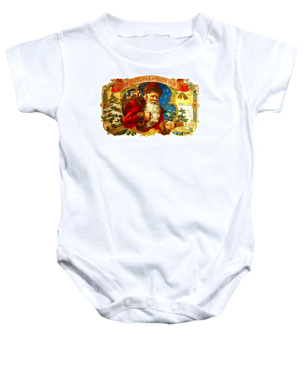 Christmas Baby Onesie featuring the photograph Santa Claus Cigar Label by Marianne Dow