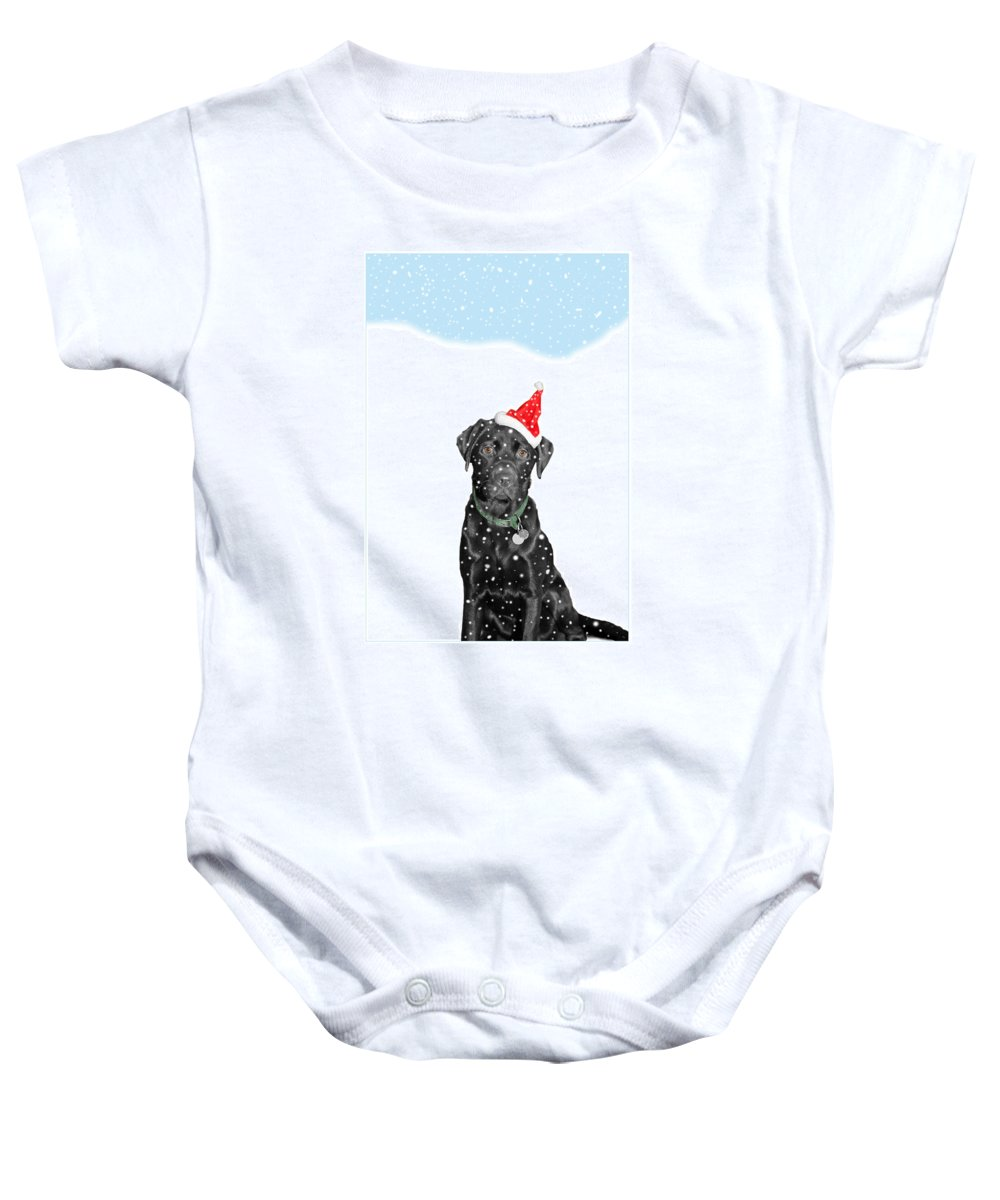 Christmas Baby Onesie featuring the photograph Santa Dog In The Snow by Mal Bray