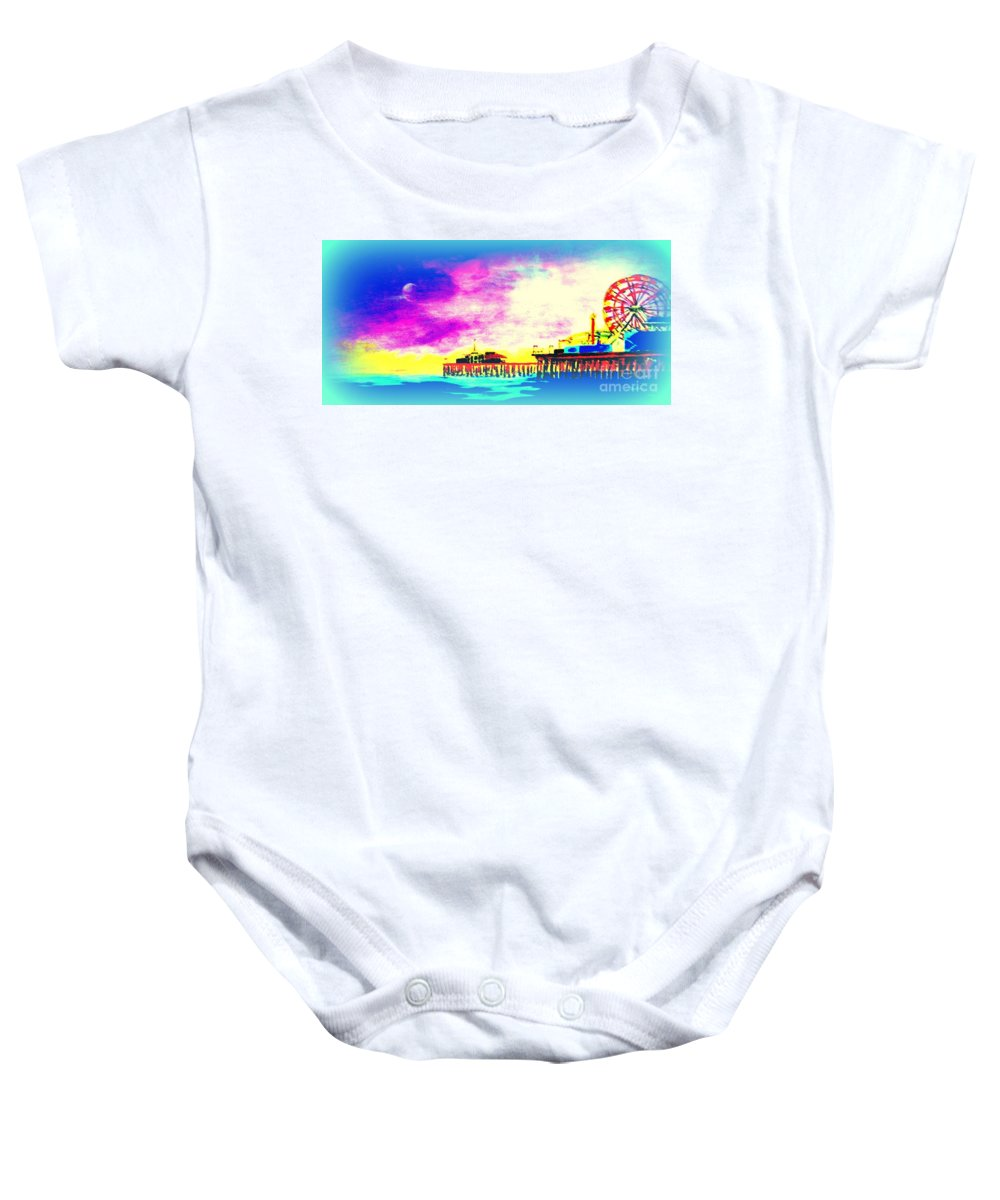 Santa Monica Baby Onesie featuring the painting Santa Monica Pier In Blue by Irving Starr