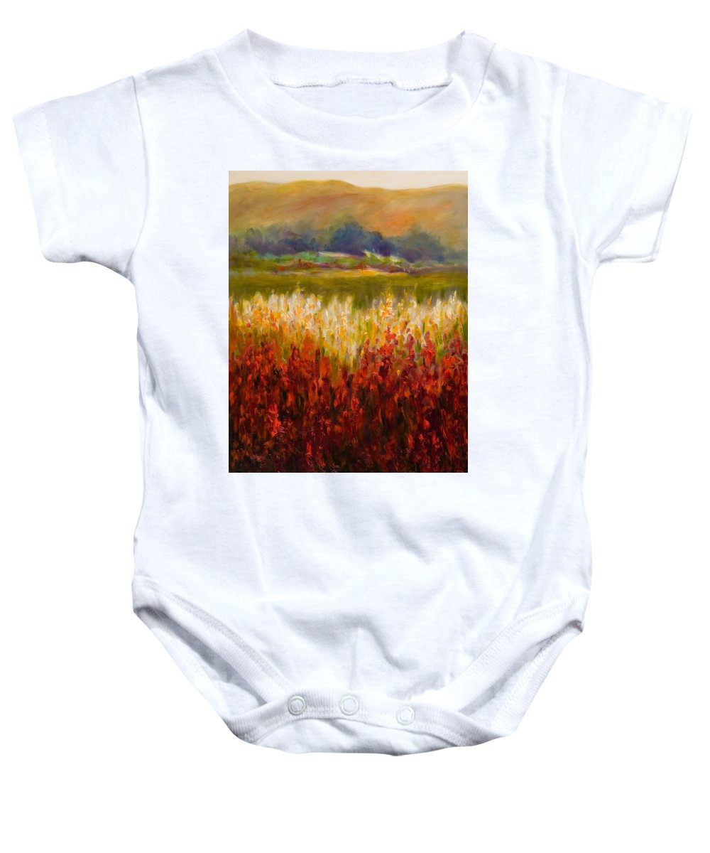 Landscape Baby Onesie featuring the painting Santa Rosa Valley by Shannon Grissom