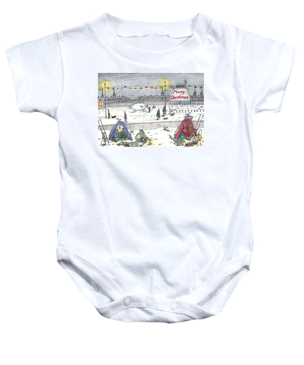 Father Christmas Fishing Baby Onesie featuring the drawing Santas Plaice Manor End Felixstowe by Steve Royce Griffin