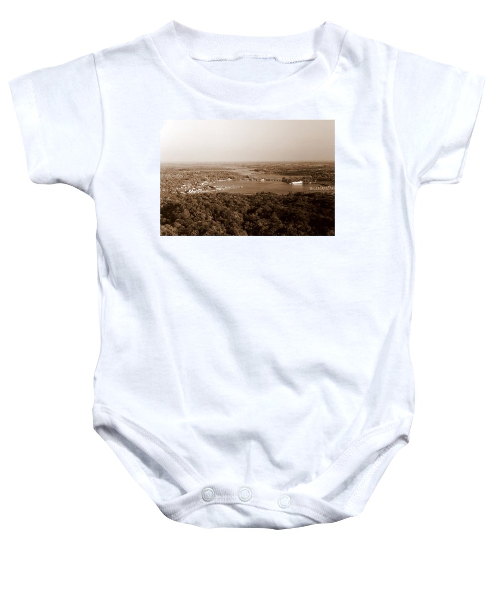 Saugatuck Baby Onesie featuring the photograph Saugatuck Michigan Harbor Aerial Photograph by Michelle Calkins