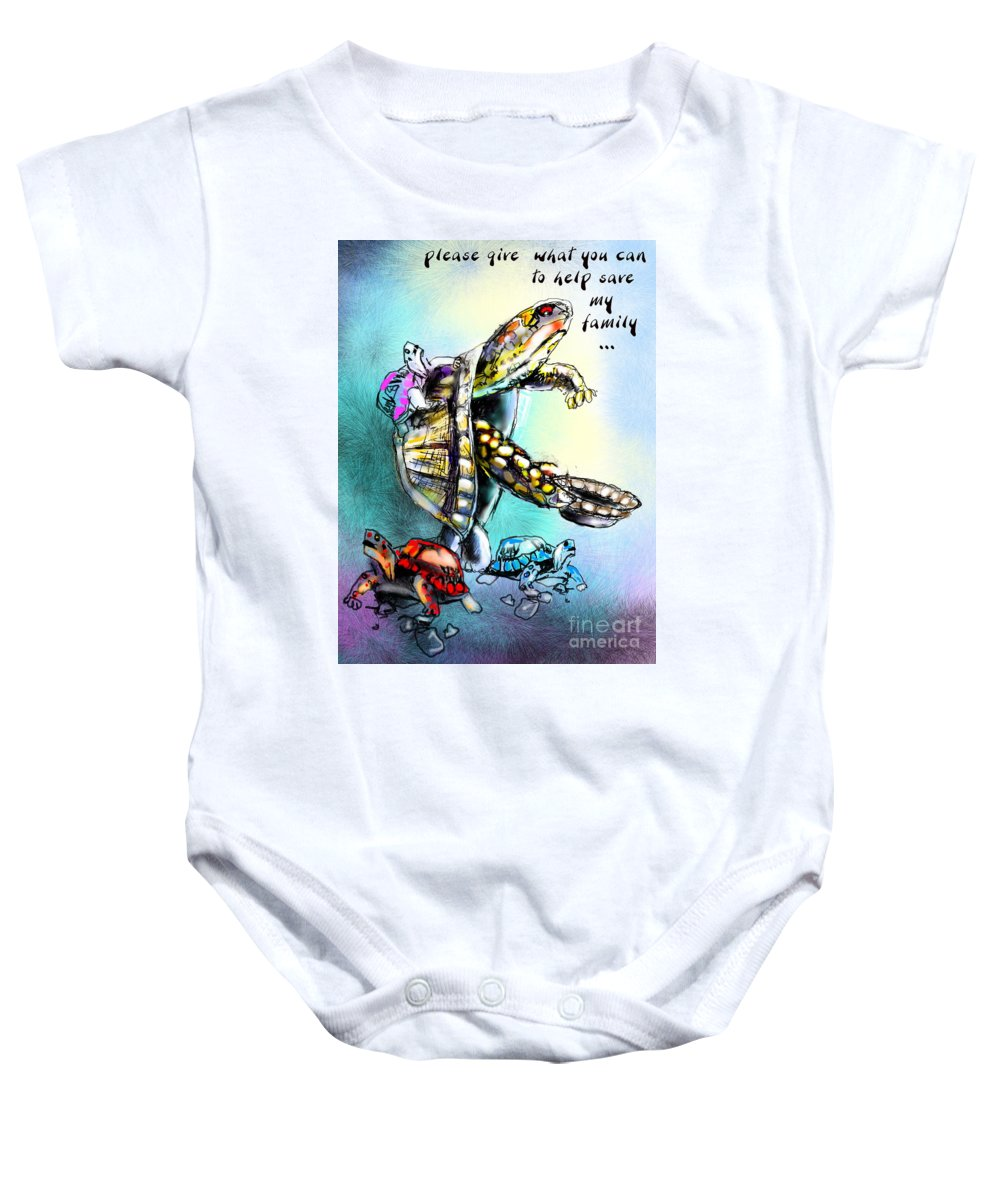 Turtle Painting Baby Onesie featuring the digital art Save My Family by Miki De Goodaboom