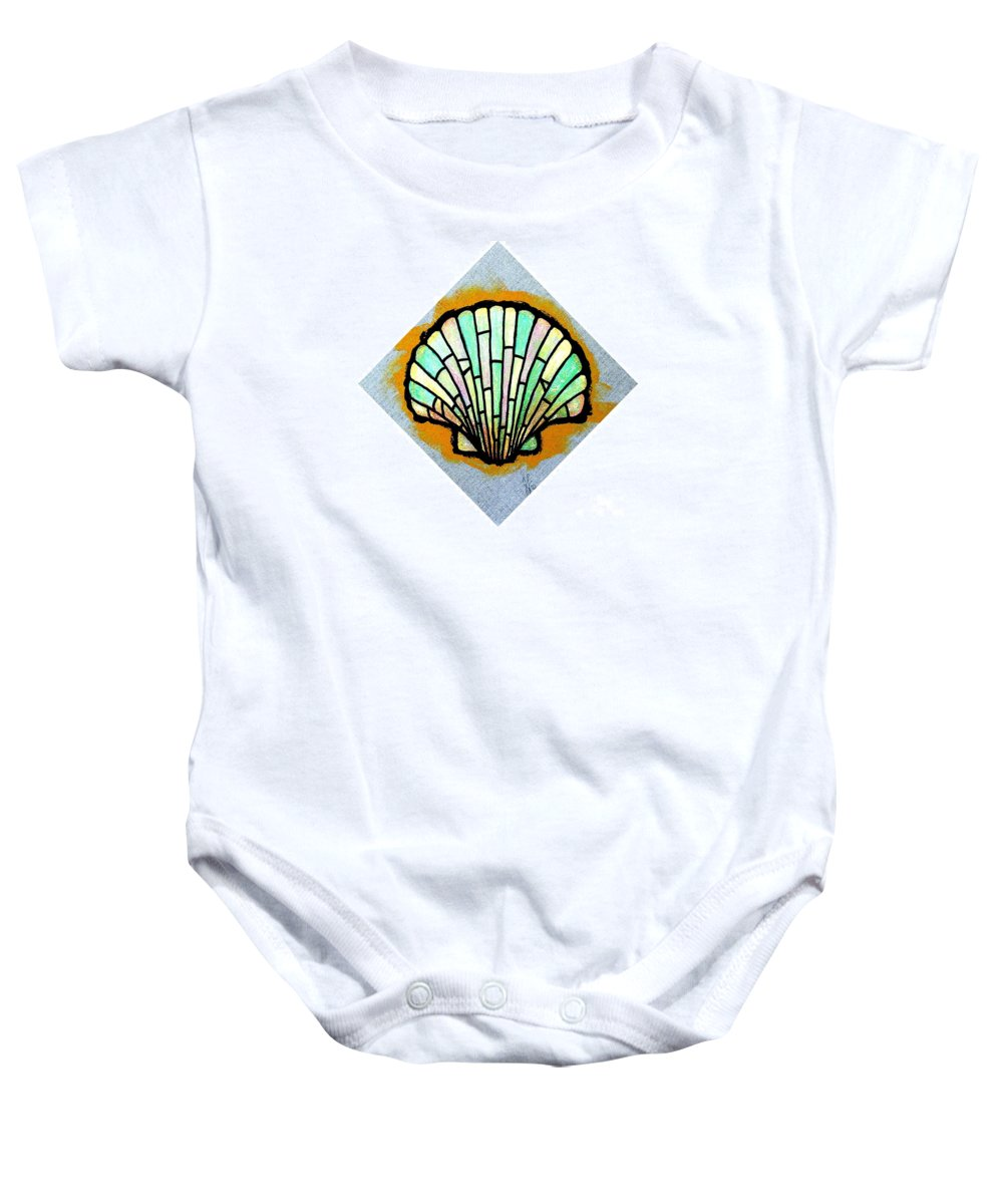 Shell Baby Onesie featuring the painting Scallop Shell by Jim Harris