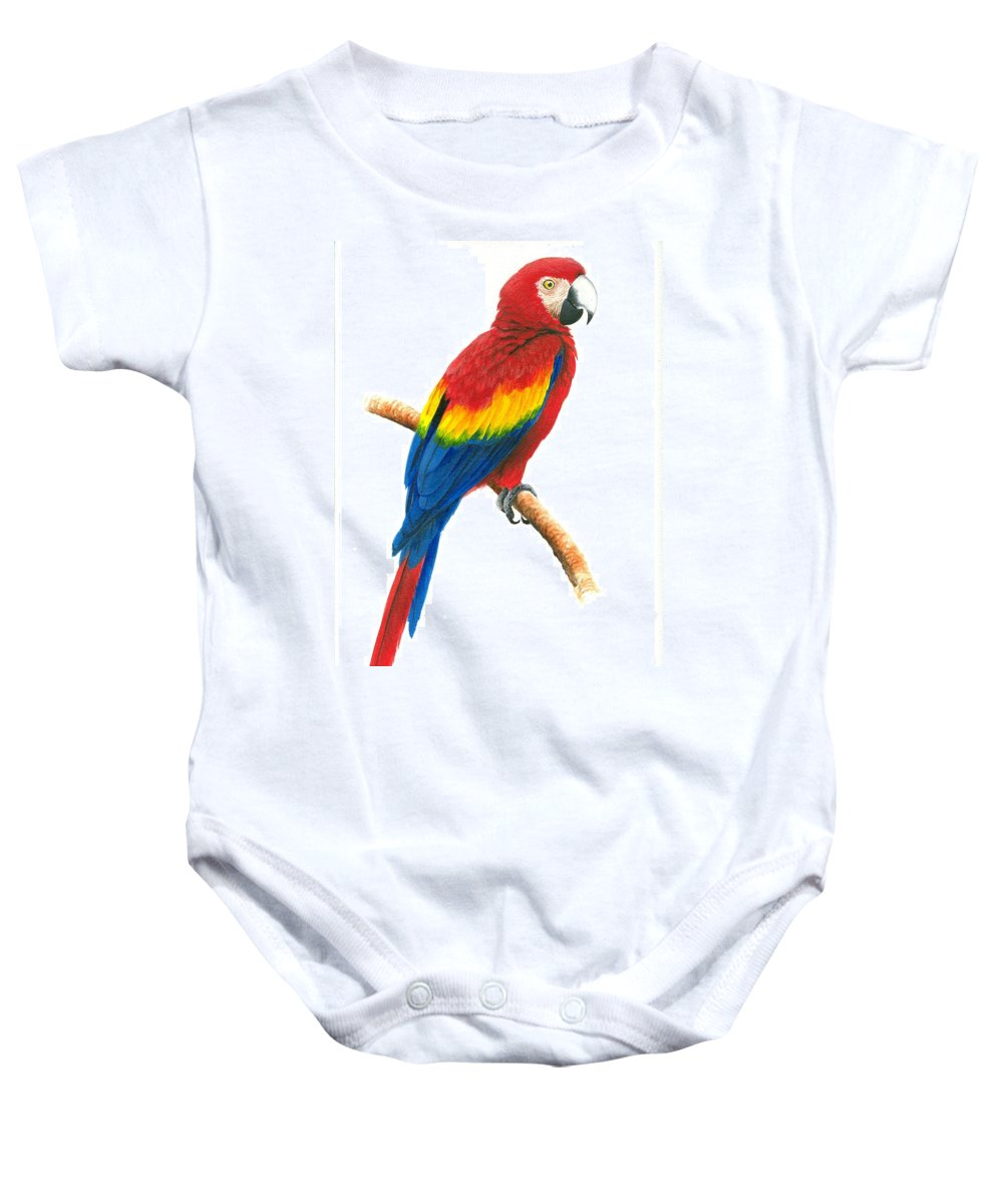 Chris Cox Baby Onesie featuring the painting Scarlet Macaw by Christopher Cox