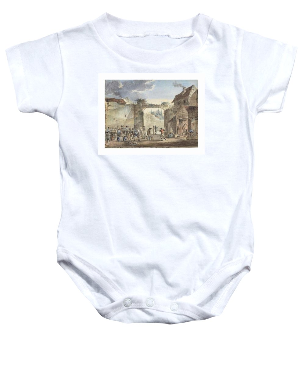 Thomas Charles Naudet Baby Onesie featuring the painting Scene In A Courtyard by Thomas Charles