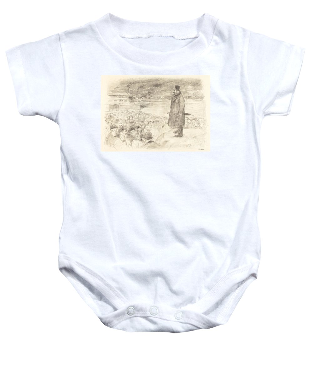 Baby Onesie featuring the drawing Scene Of A Strike (third Plate) by Jean-louis Forain
