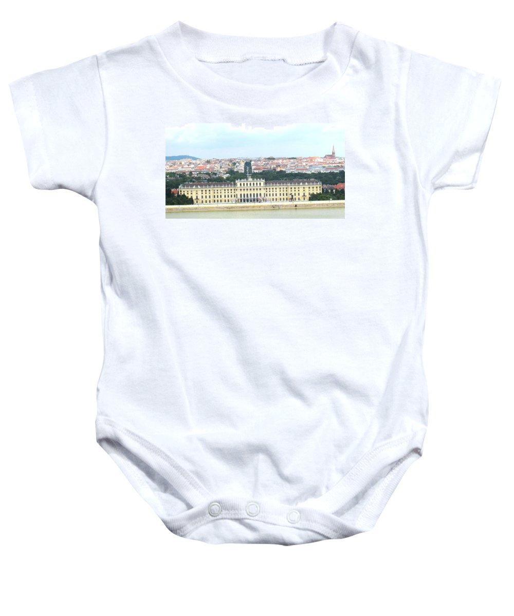 Schonbrunn Baby Onesie featuring the photograph Schonbruun Castle by Ian MacDonald