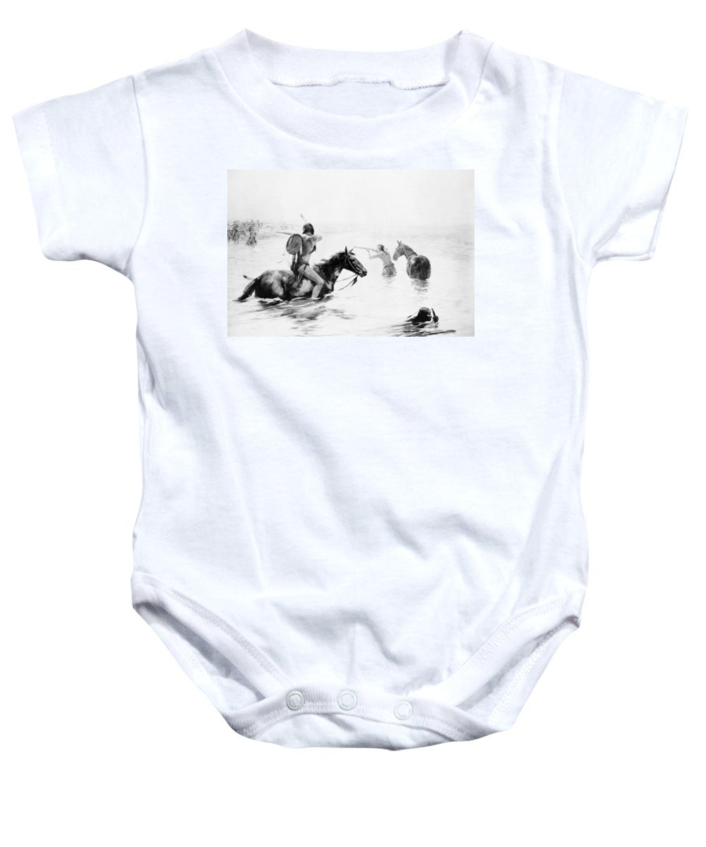 19th Century Baby Onesie featuring the photograph Schreyvogel: Stand Off by Granger