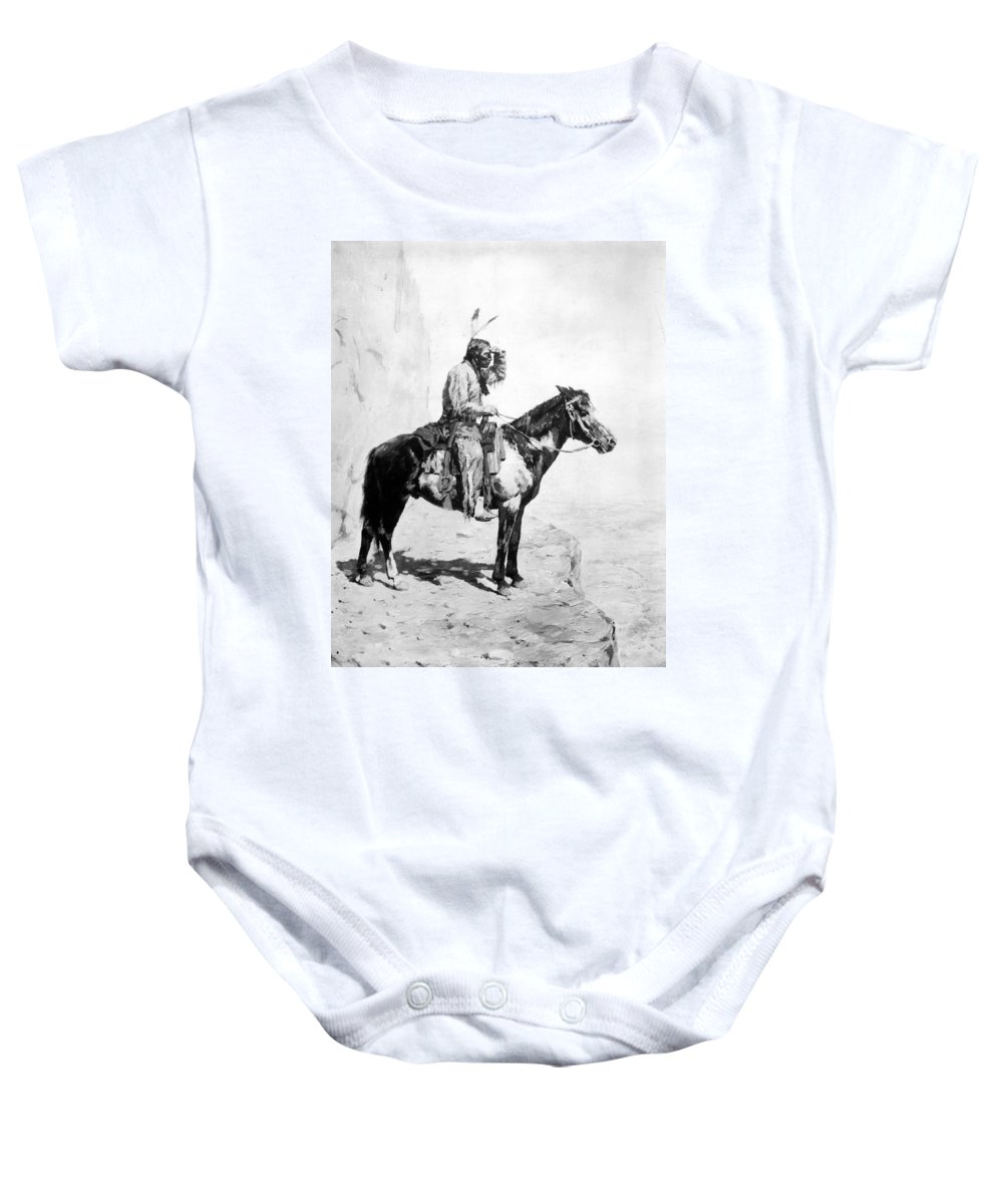1890 Baby Onesie featuring the photograph Schreyvogel: The Scout by Granger