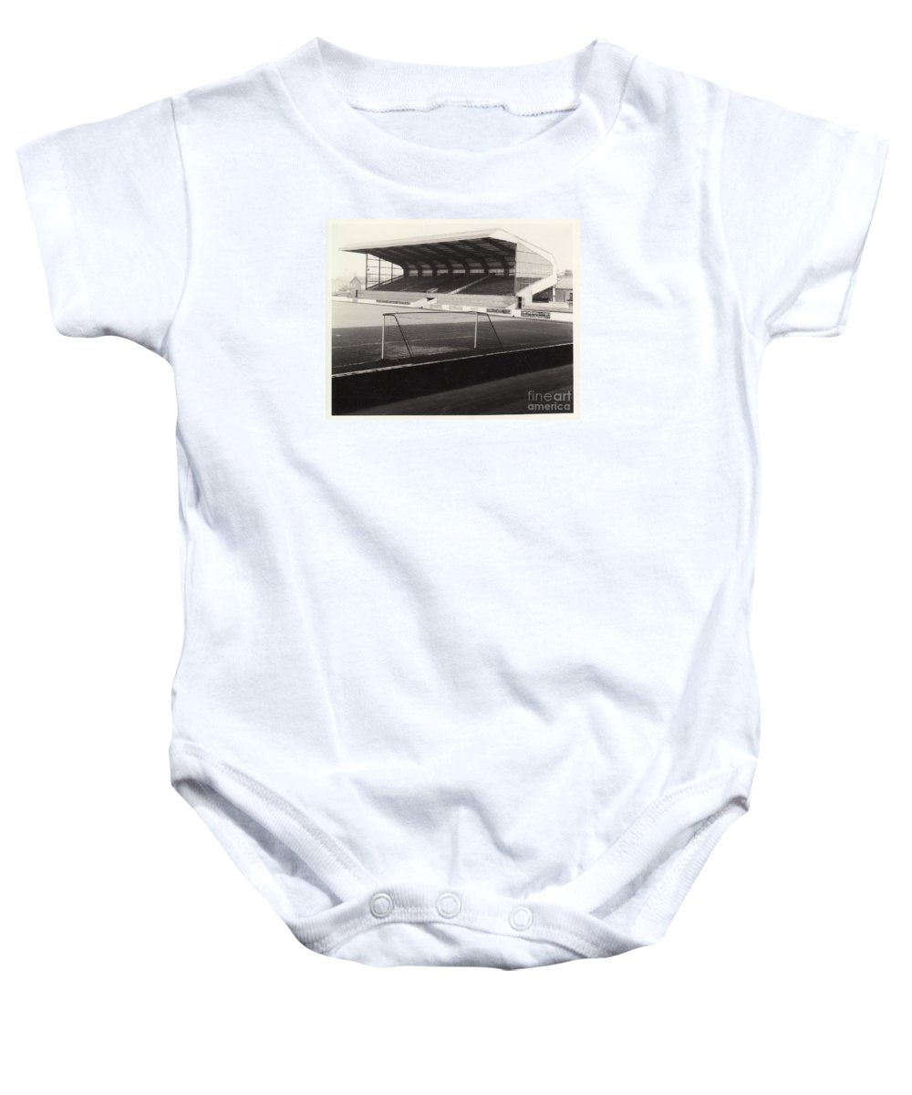 Baby Onesie featuring the photograph Scunthorpe United - Old Showground - East Stand 1 - Bw - 1960s by Legendary Football Grounds