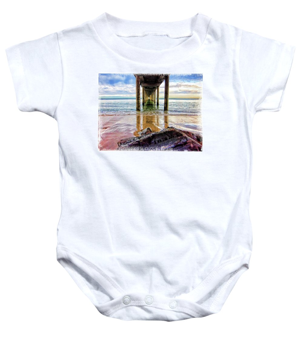 Jetty Baby Onesie featuring the photograph Sea Level by Douglas Barnard