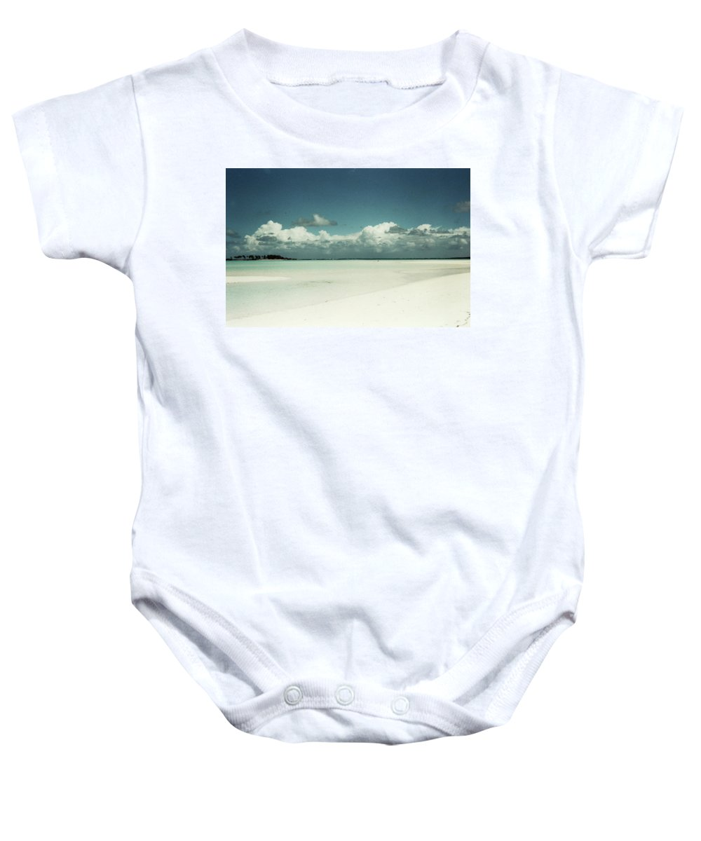 Blue Sky White Clouds Sand Beach Water Aqua Turquoise Seashells Conch Starfish Coral Reefs Nature Ocean Sea Heart Soul Walks Trees Island Landscape Nature Inspiration Inspired Happiness Solitude Peace Joy Tropical Bliss Baby Onesie featuring the photograph Sea Shells By The Sea Shore by Catherine Maclaren