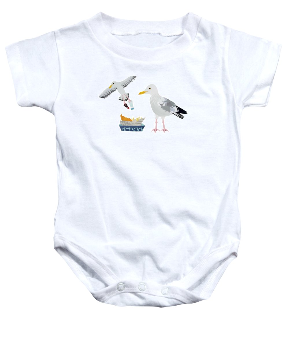 Segull Baby Onesie featuring the drawing Seagulls by Isobel Barber
