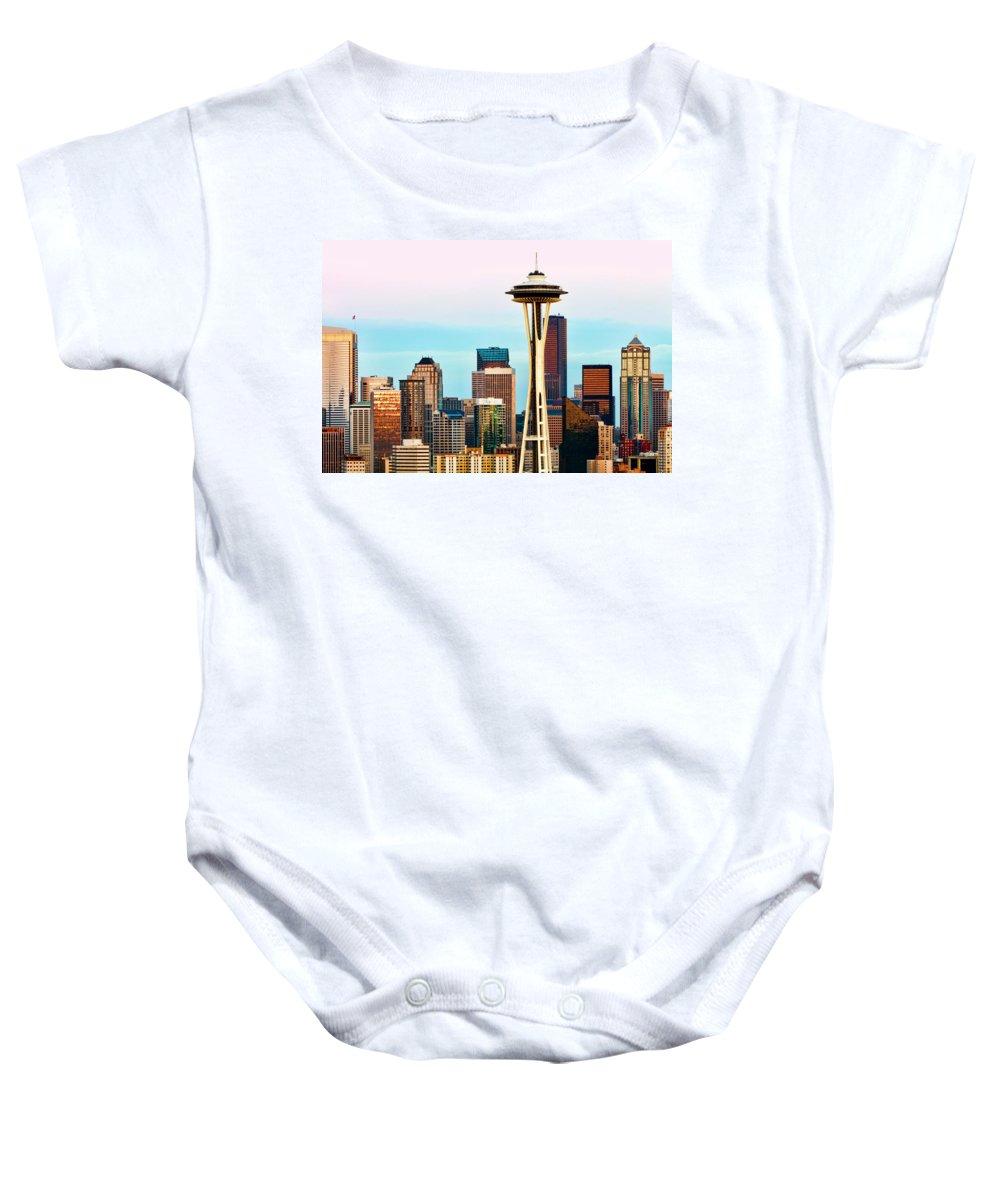 Seattle Baby Onesie featuring the digital art Seattle Daylight by Janet Fikar