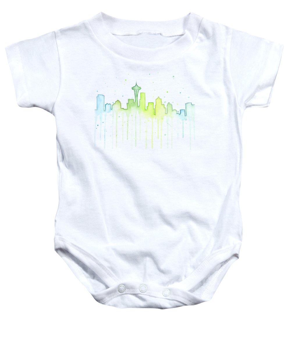 Seattle Baby Onesie featuring the painting Seattle Skyline Watercolor by Olga Shvartsur