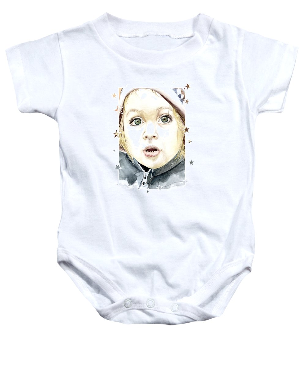 Baby Baby Onesie featuring the painting See The World Through My Eyes by Alban Dizdari