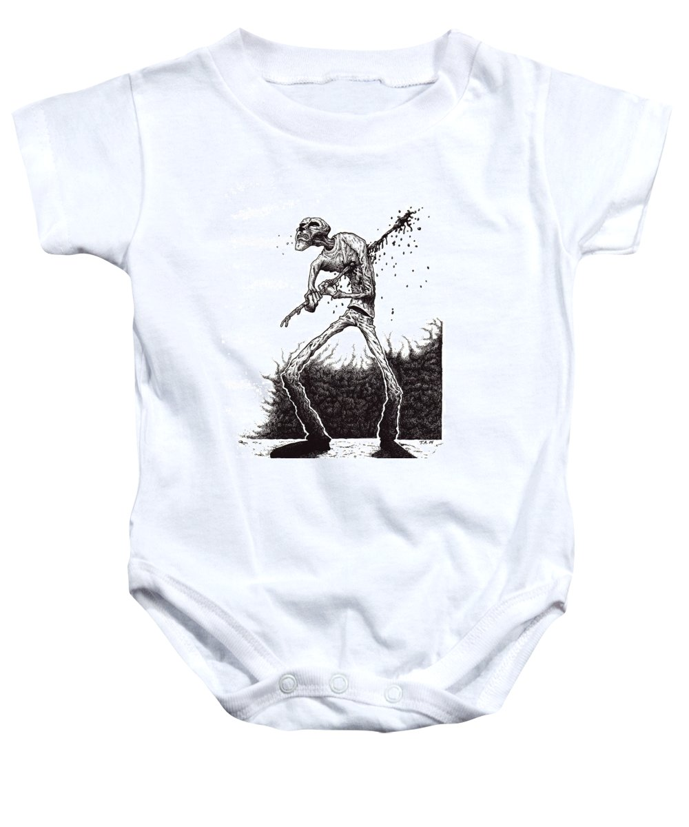 Dark Baby Onesie featuring the drawing Self Inflicted by Tobey Anderson