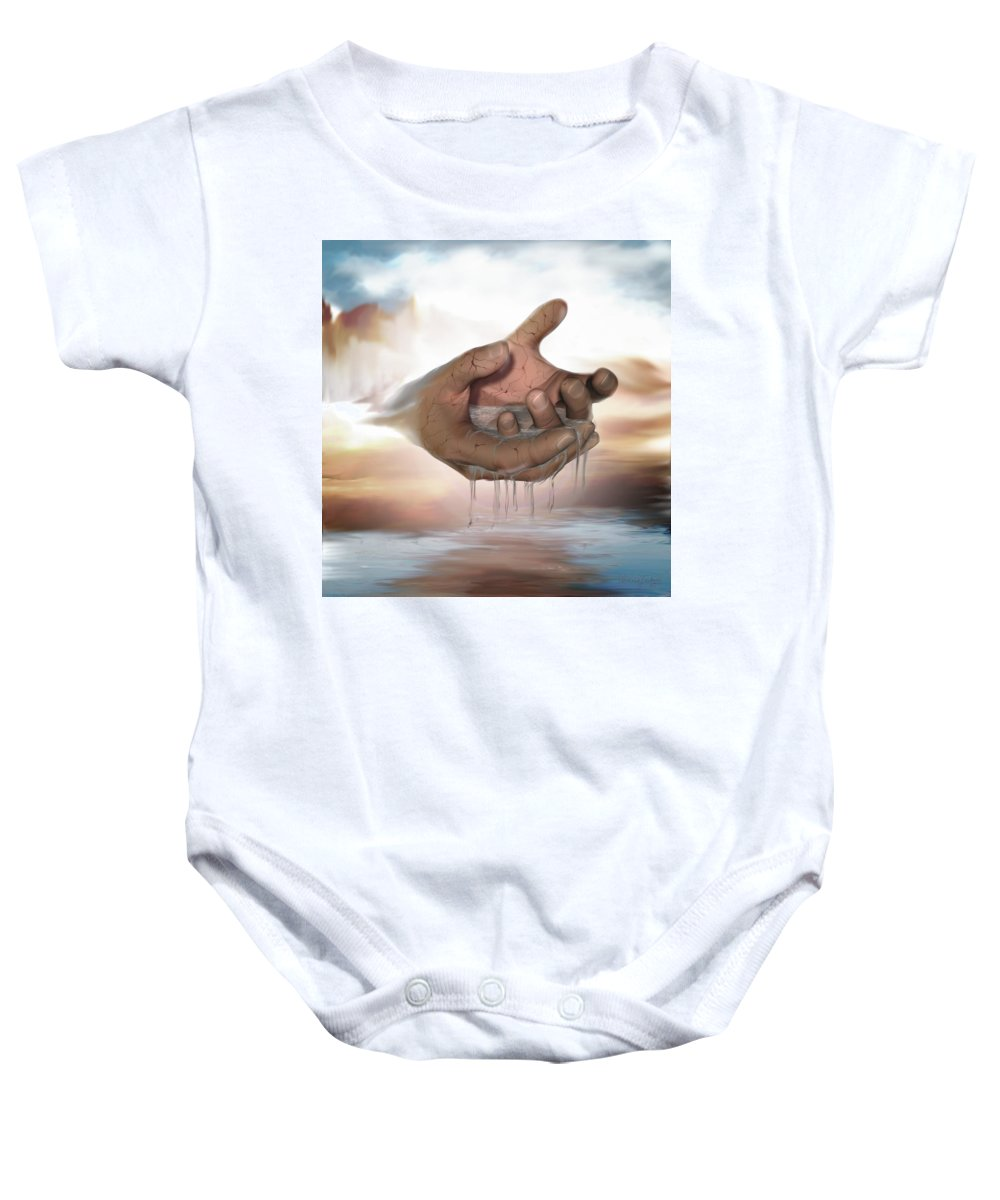 Hands Nature Water Landscape Life God Baby Onesie featuring the digital art Self-replenishing Nature by Veronica Jackson