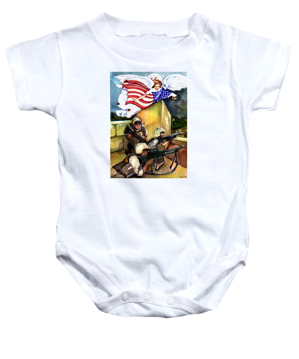 Elle Fagan Baby Onesie featuring the painting Semper Fideles - Iraq by Elle Smith Fagan
