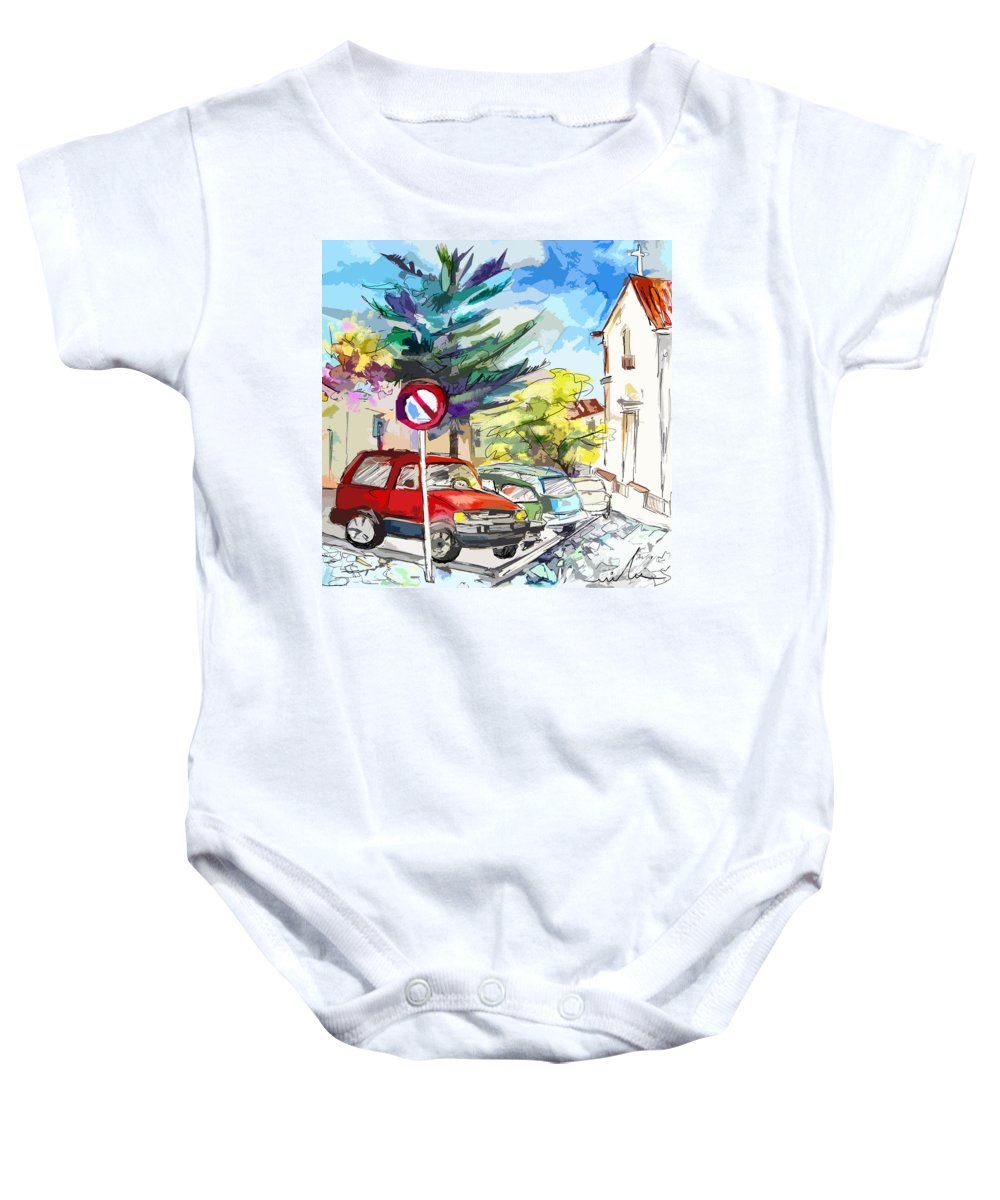 Painting Of Serpa Alentajo Portugal Travel Sketch Baby Onesie featuring the painting Serpa Portugal 02 Bis by Miki De Goodaboom