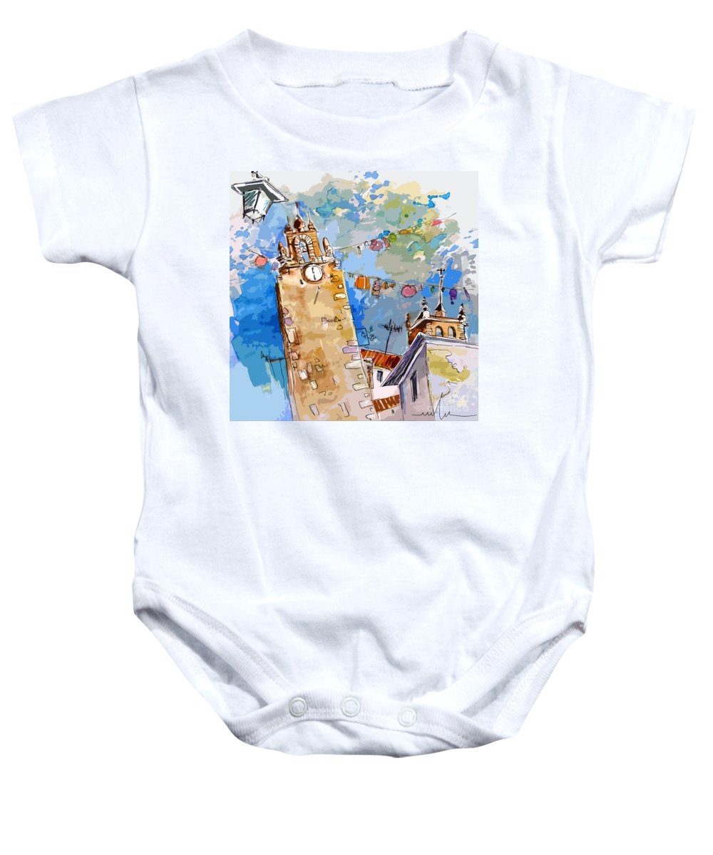Painting Of Serpa Alentajo Portugal Travel Sketch Baby Onesie featuring the painting Serpa Portugal 08 Bis by Miki De Goodaboom