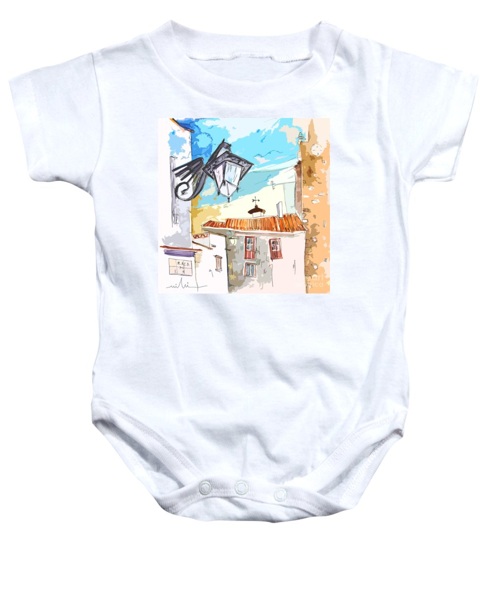 Painting Of Serpa Alentajo Portugal Travel Sketch Baby Onesie featuring the painting Serpa Portugal 09 Bis by Miki De Goodaboom