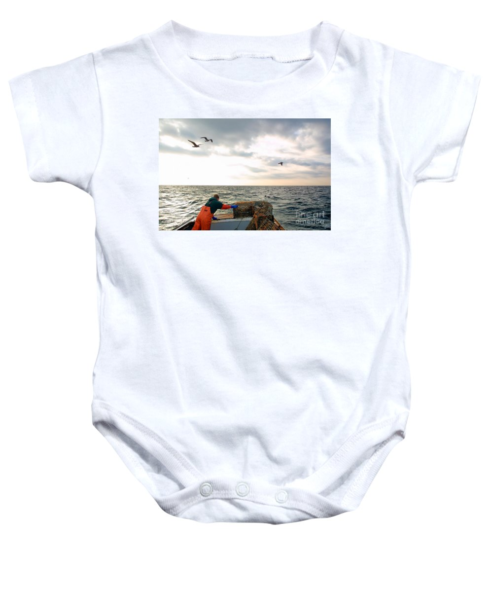 Fishing Boat Baby Onesie featuring the photograph Setting Lobster Traps In Chatham On Cape Cod by Matt Suess