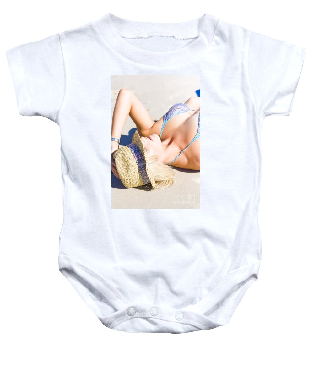 Adults Only Baby Onesie featuring the photograph Sexy Woman On Sand by Jorgo Photography - Wall Art Gallery