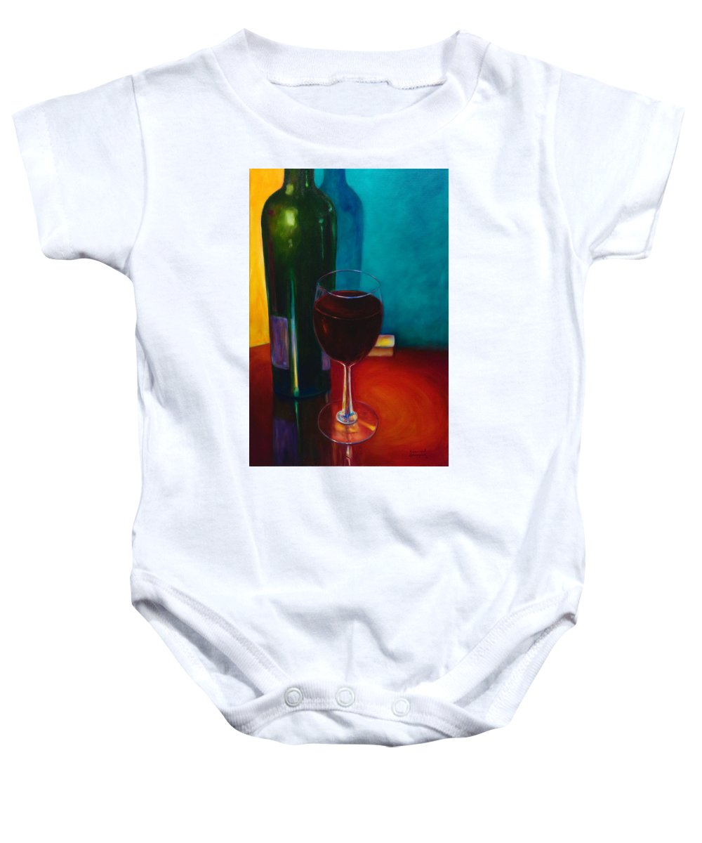 Wine Bottle Baby Onesie featuring the painting Shannon's Red by Shannon Grissom