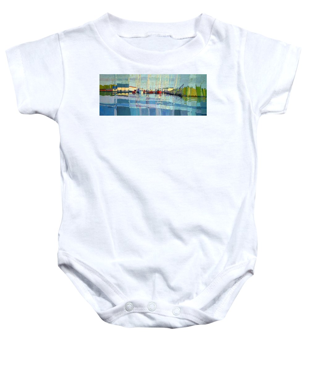 Belmar Inlet Baby Onesie featuring the painting Shark River Inlet by Donald Maier