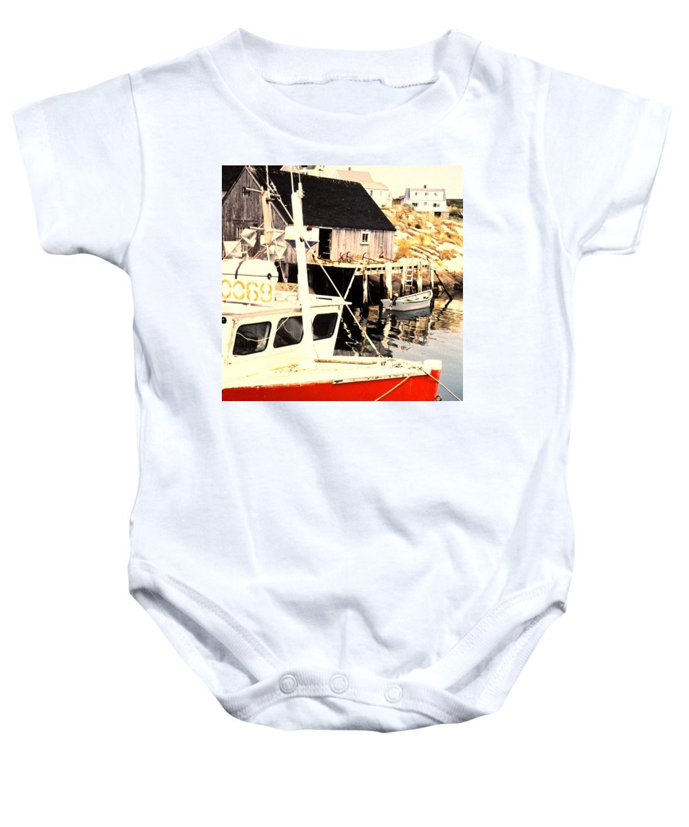 Peggys Cove Baby Onesie featuring the photograph Sheltered Port by Ian MacDonald