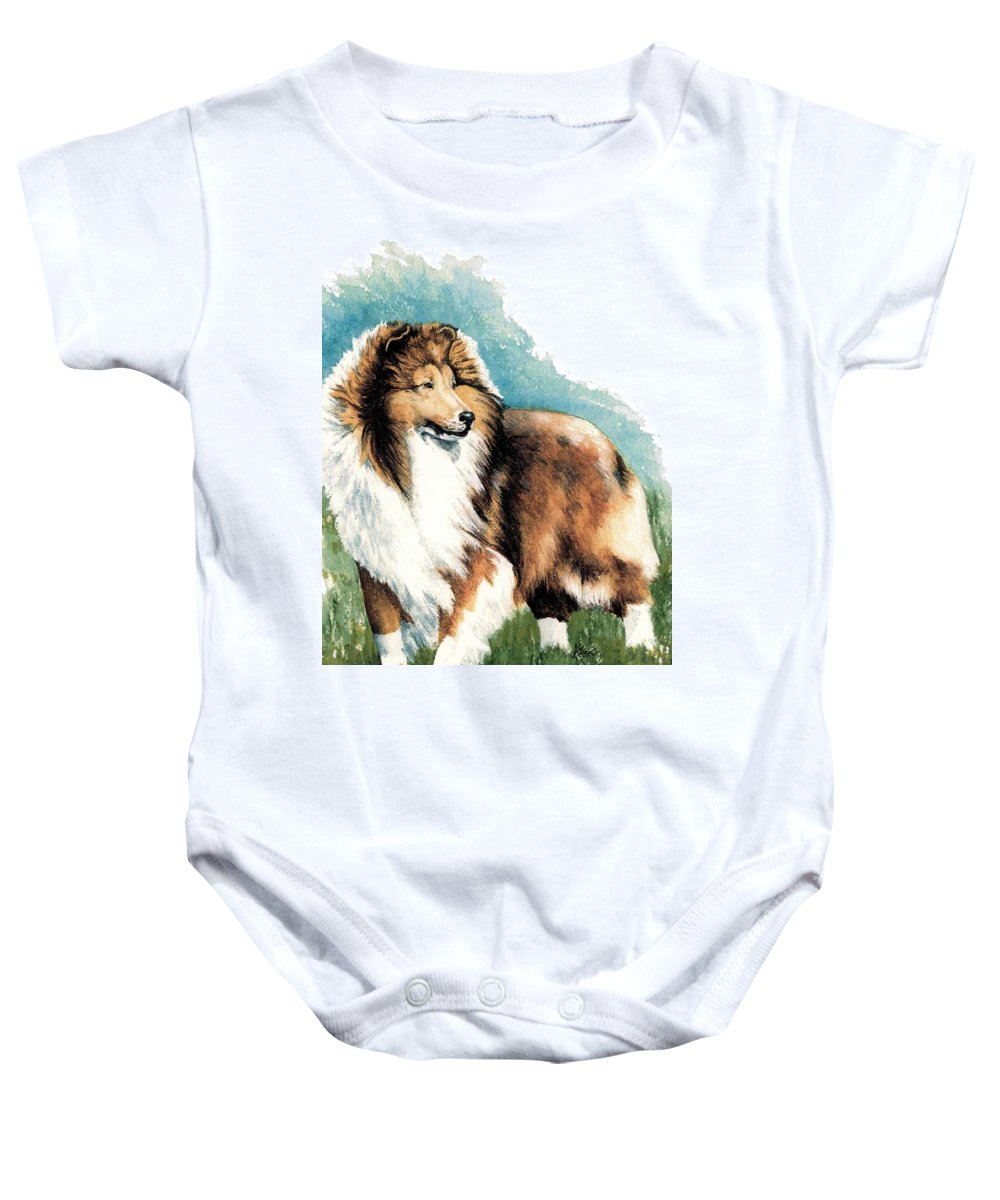 Shetland Sheepdog Baby Onesie featuring the painting Sheltie Watch by Kathleen Sepulveda