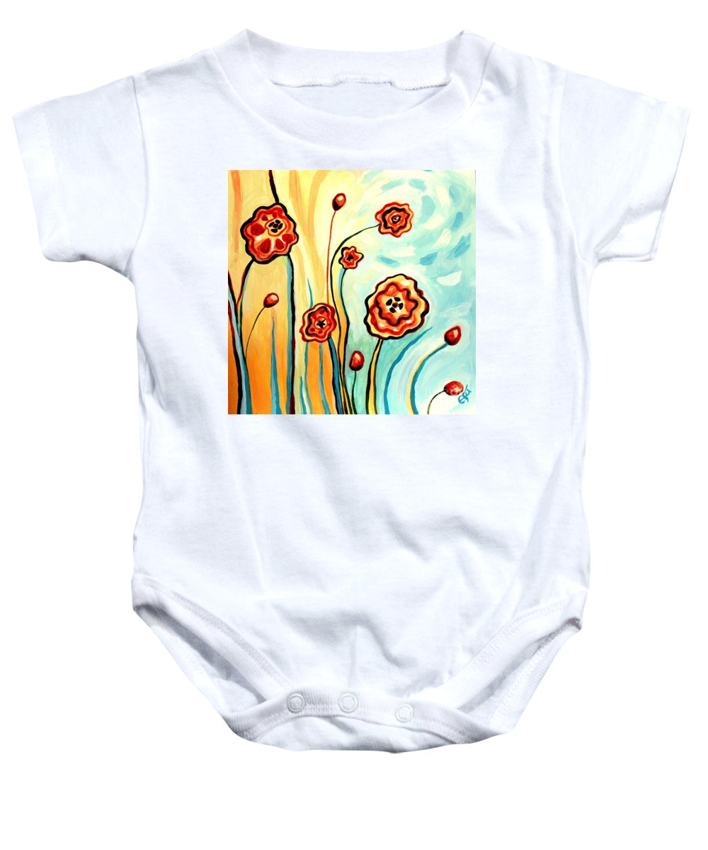 Floral Baby Onesie featuring the painting Sherbert And Powder Blue Skies by Elizabeth Robinette Tyndall