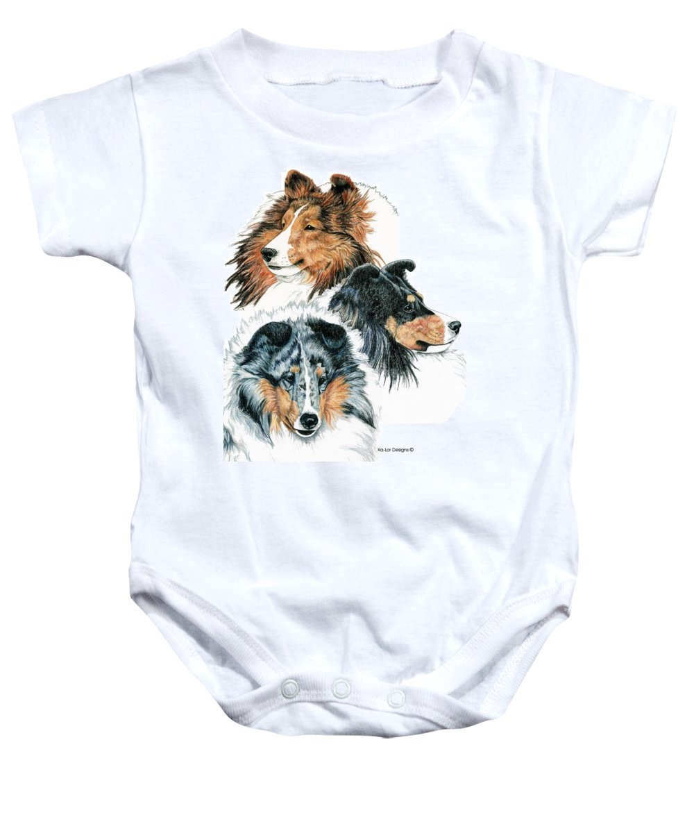 Shetland Sheepdog Baby Onesie featuring the drawing Shetland Sheepdogs by Kathleen Sepulveda