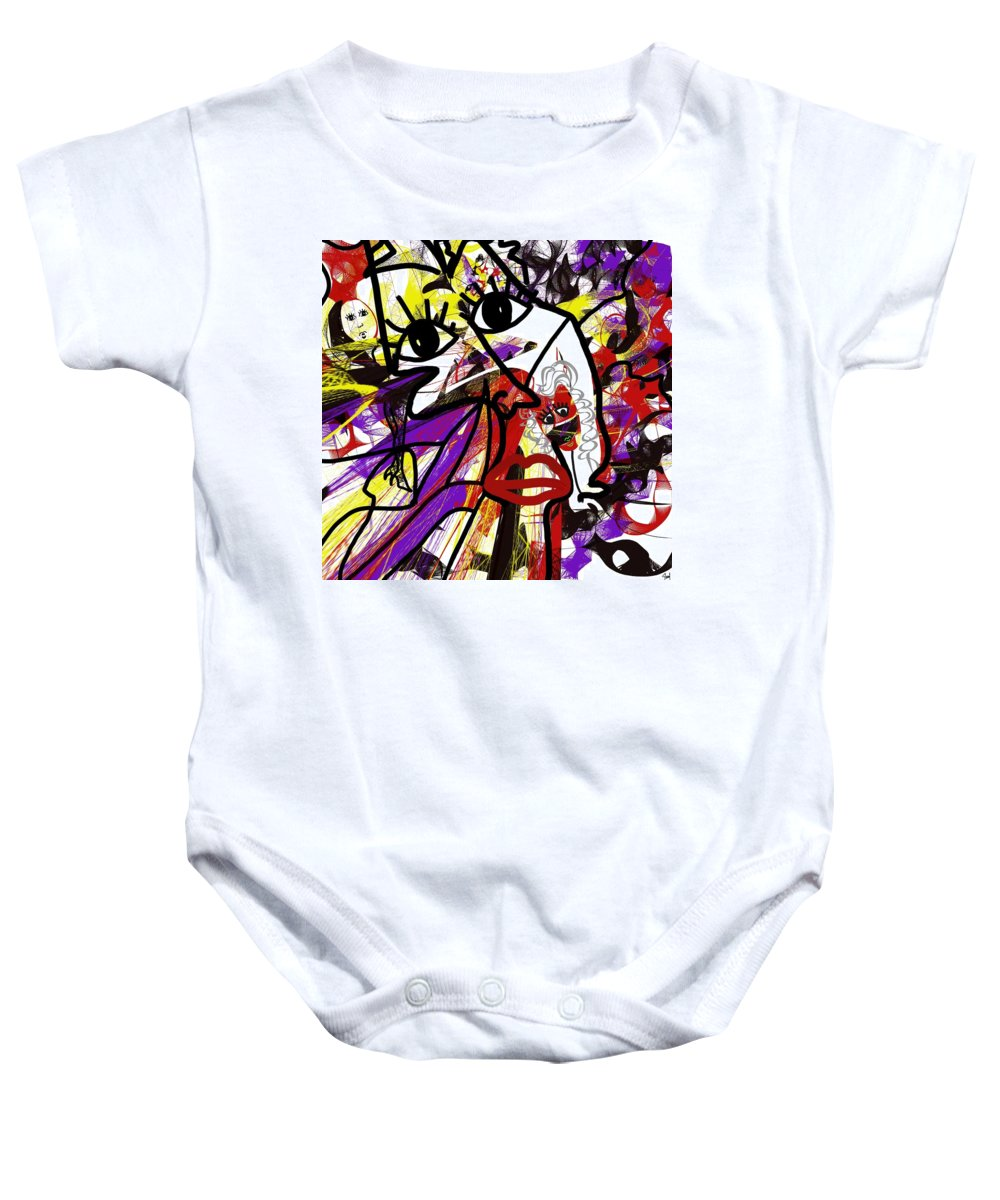 Surrealism Baby Onesie featuring the digital art Show Must Go On by Yilmar Henry