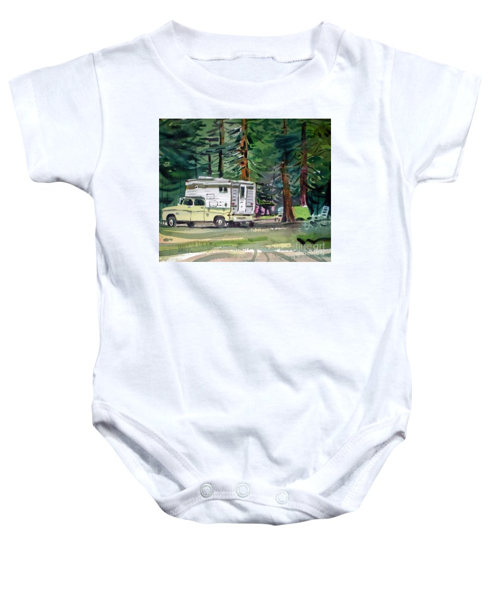 Camping Baby Onesie featuring the painting Sierra Campsite by Donald Maier