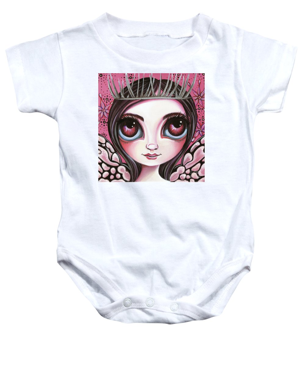 Pink Baby Onesie featuring the painting Silver Thorn by Jaz Higgins