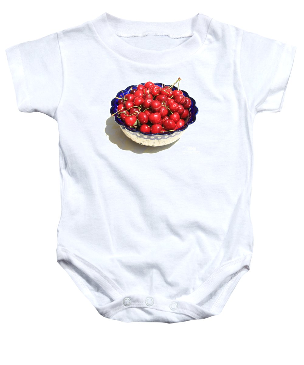 Cherries Baby Onesie featuring the photograph Simply A Bowl Of Cherries by Carol Groenen